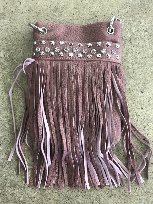 Chic Bag Crossbody Handbag - Blush Fringe with crystals - CHIC715- BLUSH Bags & Wallets Virginia City Motorcycle Company Apparel