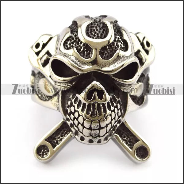 Biker Ring - Stainless Steel Wrench X Skull  - R3001 Jewelry Virginia City Motorcycle Company Apparel