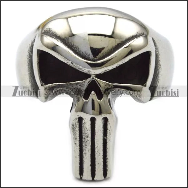 Biker Ring - Punisher Skull Stainless Steel Biker Ring - R3003 Jewelry Virginia City Motorcycle Company Apparel