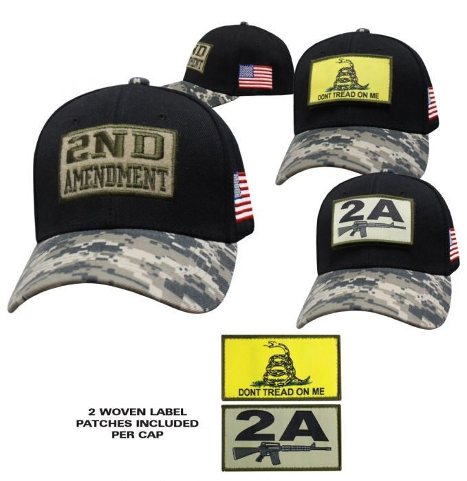 Ballcap - Patch Base Cap Hat Black w/ Digital Camo Hat - SPBCBDC cap Virginia City Motorcycle Company Apparel