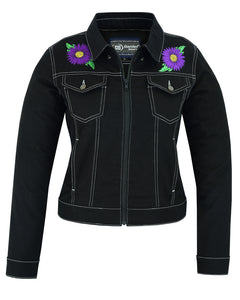 DM949 Women's Daisy Black Denim Jacket Women's Jackets Virginia City Motorcycle Company Apparel