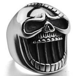 R101 Stainless Steel Big Face Skull Biker Ring Rings Virginia City Motorcycle Company Apparel