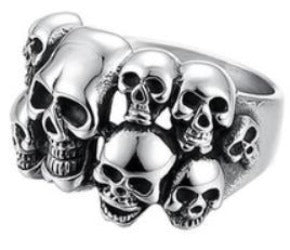 R102 Stainless Steel Multi-Skull Face Biker Ring New Arrivals Virginia City Motorcycle Company Apparel
