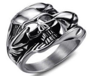 R105 Stainless Steel Skull Vador Biker Ring Rings Virginia City Motorcycle Company Apparel