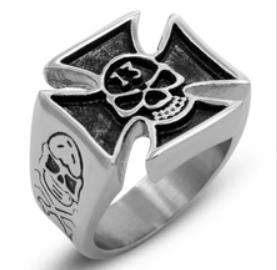 R106 Stainless Steel Skull 13 Biker Ring Rings Virginia City Motorcycle Company Apparel
