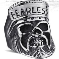 R110 Stainless Steel Fearless Skull Biker Ring Rings Virginia City Motorcycle Company Apparel