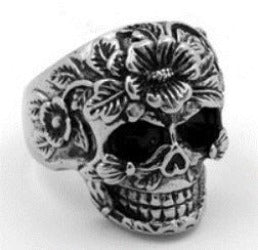 R111 Stainless Steel Flower Face Skull Biker Ring Rings Virginia City Motorcycle Company Apparel