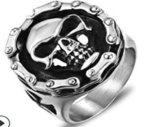 R113 Stainless Steel Biker Chain Skull Face Biker Ring Rings Virginia City Motorcycle Company Apparel