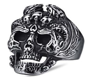 Stainless Steel Skelator Skull Face Biker Ring - R114 Rings Virginia City Motorcycle Company Apparel