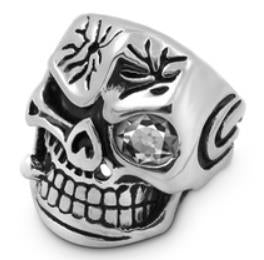 R117 Stainless Steel Smash Face Skull Biker Ring Rings Virginia City Motorcycle Company Apparel