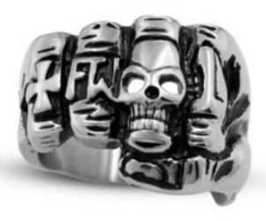 R119 Stainless Steel Fist Face Skull Biker Ring Rings Virginia City Motorcycle Company Apparel