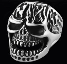 R122 Stainless Steel Fire Face Skull Biker Ring Rings Virginia City Motorcycle Company Apparel