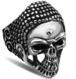 R123 Stainless Steel War Head Skull Biker Ring Rings Virginia City Motorcycle Company Apparel