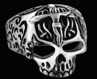 R124 Stainless Steel Jesus Cross Skull Biker Ring Rings Virginia City Motorcycle Company Apparel