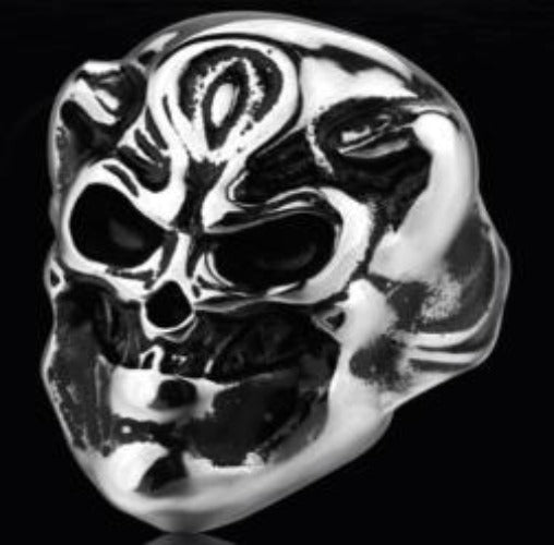 R129 Stainless Steel Smiling Skull Biker Ring New Arrivals Virginia City Motorcycle Company Apparel