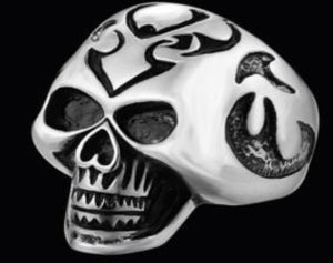 R137 Stainless Steel Big Head Skull Biker Ring New Arrivals Virginia City Motorcycle Company Apparel