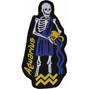 P5480 Aquarius Skull Zodiac Sign Patch New Arrivals Virginia City Motorcycle Company Apparel