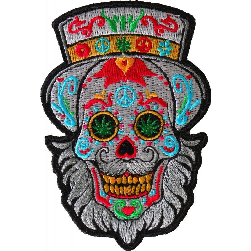 P6705 Bearded Sugar skull Small Iron on Patch New Arrivals Virginia City Motorcycle Company Apparel