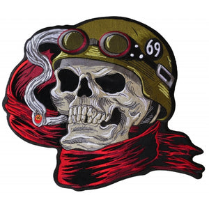 PL6016 Biker Skull Embroidered Iron on Patch New Arrivals Virginia City Motorcycle Company Apparel