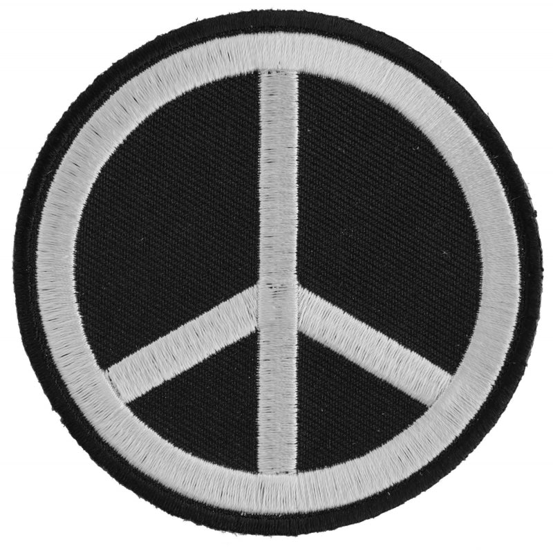 P3488 Black White Peace Sign Patch Patches Virginia City Motorcycle Company Apparel