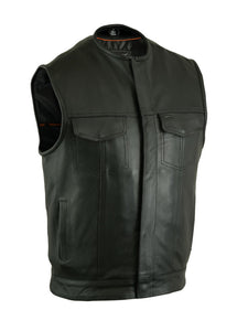 Daniel Smart - Concealed Snap Closure, Milled Cowhide, Men's Leather Vest - DS181A Men's Vests Virginia City Motorcycle Company Apparel