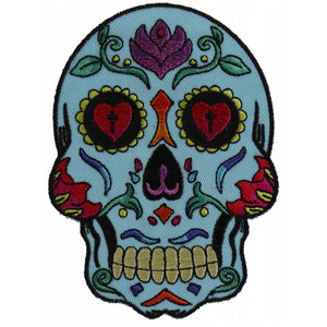 P5984 Sugar Skull Blue Patch New Arrivals Virginia City Motorcycle Company Apparel