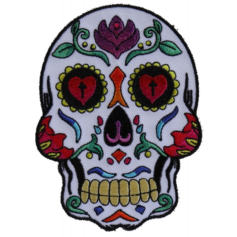 P5986 Sugar Skull White Patch New Arrivals Virginia City Motorcycle Company Apparel