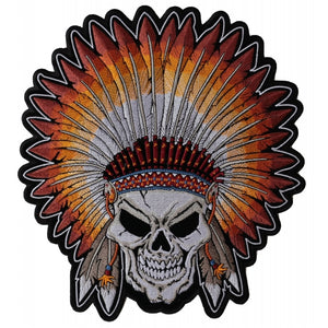 PL4666 Indian Headdress Skull Embroidered Iron on Patch New Arrivals Virginia City Motorcycle Company Apparel