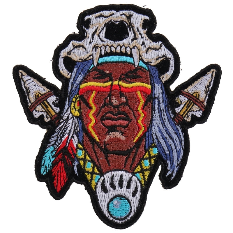 P4614 Indian Skull Head Dress Small Patch Patches Virginia City Motorcycle Company Apparel