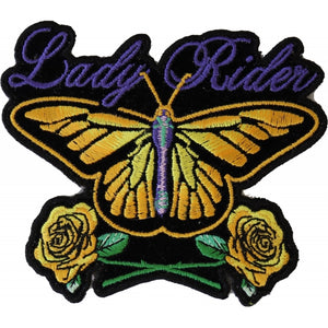 P3945 Lady Rider Butterfly With Yellow Roses Small Iron on Patch Patches Virginia City Motorcycle Company Apparel