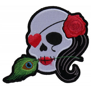P5145 Lady Sugar Skull With Pink Rose and Feather Small Patch New Arrivals Virginia City Motorcycle Company Apparel