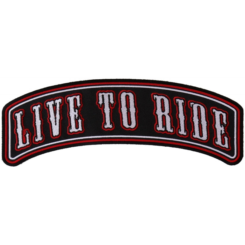 PR2543 Live To Ride Large Rocker Biker Patch New Arrivals Virginia City Motorcycle Company Apparel