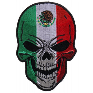 P5665 Mexican Flag Skull Small Patch New Arrivals Virginia City Motorcycle Company Apparel