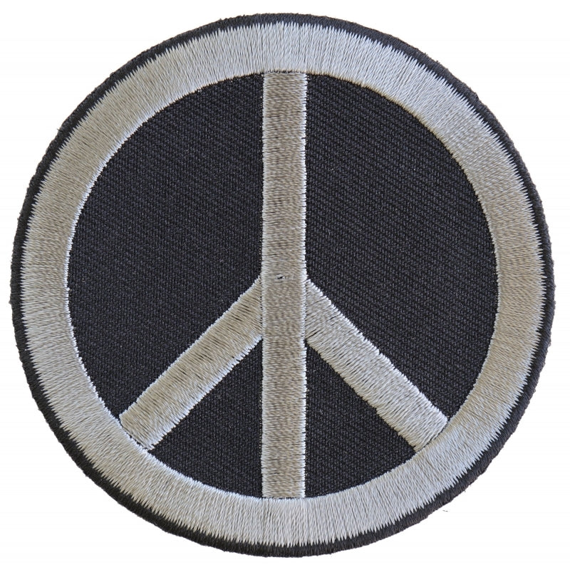 P4871 Peace Sign Patch Gray On Black Patches Virginia City Motorcycle Company Apparel