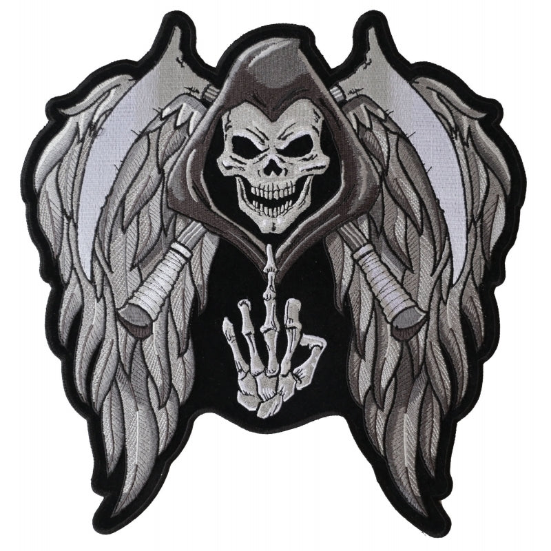 PL5144 Reaper Wings Scythe Middle Finger Embroidered Iron on Patch New Arrivals Virginia City Motorcycle Company Apparel
