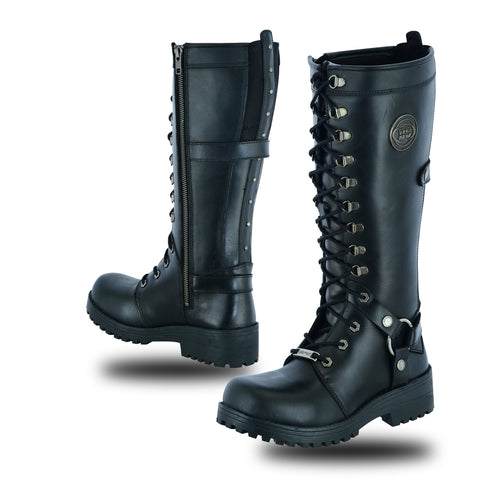 DS9765 Women's 15 Inch Black Leather Stylish Harness Boot Women's Boots Virginia City Motorcycle Company Apparel