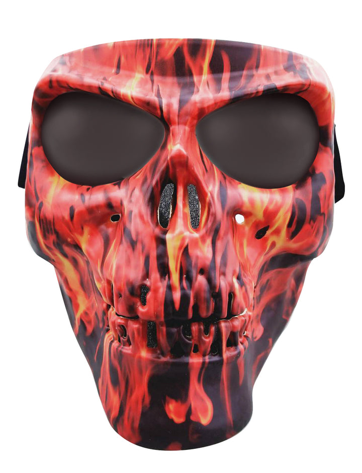 Skull Full Face Mask w/ Flames  - SMFS Full Facemasks Virginia City Motorcycle Company Apparel