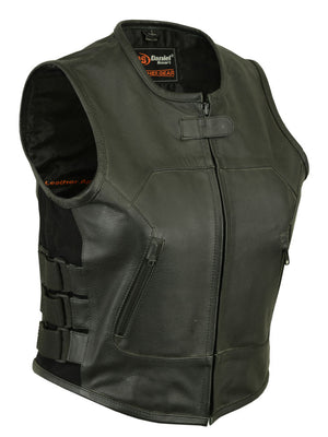 Daniel Smart - Women's Full Front SWAT Team Style Vest - DS200 Women's Leather Vests Virginia City Motorcycle Company Apparel