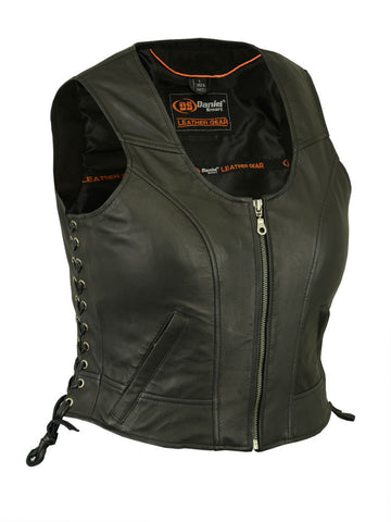 Daniel Smart - Women's Stylish Lightweight Leather Vest - DS242 Women's Leather Vests Virginia City Motorcycle Company Apparel