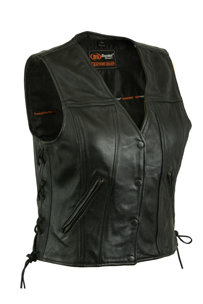 Daniel Smart -  Women's Single Back Panel Concealed Carry Vest - DS205 Women's Leather Vests Virginia City Motorcycle Company Apparel
