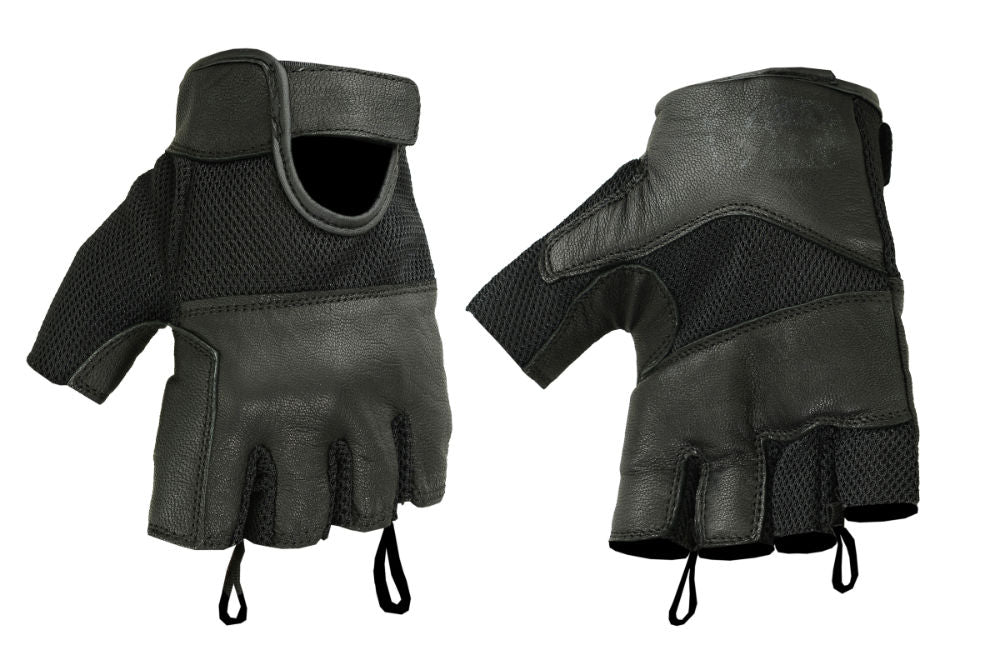 Mesh Fingerless Glove / Leather / Gel Palm - DS17 Gloves Virginia City Motorcycle Company Apparel