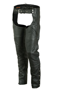 Unisex Deep Pocket Thermal Lined Leather Chaps - DS488 Chaps Virginia City Motorcycle Company Apparel