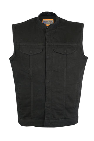 Daniel Smart -Men's Hidden Snap/Zipper Closure, Denim, Conceal Carry,  Scoop Collar Men's Denim Vest - DM989BK Men's Denim Vests Virginia City Motorcycle Company Apparel