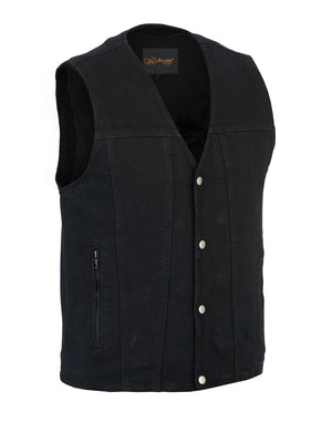 Daniel Smart -Men's Single Back Panel Concealed Carry Denim Vest - DM925BK Men's Vests Virginia City Motorcycle Company Apparel
