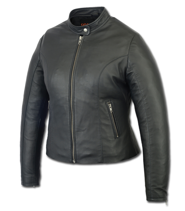 Women's Stylish Lightweight Leather Riding Jacket - DS843 Women's Jackets Virginia City Motorcycle Company Apparel