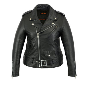 DS850 Women's Classic Plain Side Fitted Motorcycle Leather Jacket Women's Jackets Virginia City Motorcycle Company Apparel