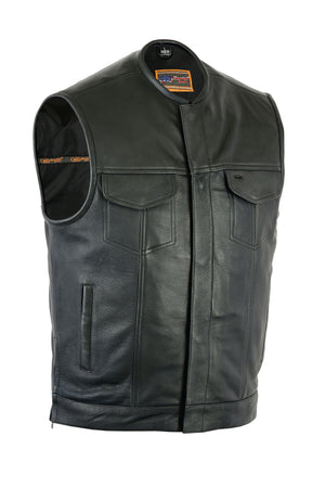 Daniel Smart - Upgraded Style Gun Pockets, Hidden Gun Metal Zipper, Men's Leather Vest - DS187 Men's Vests Virginia City Motorcycle Company Apparel