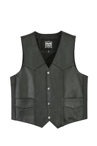 Daniel Smart - Kids Traditional Style Plain Side Leather Vest - DS1725 Kid's Leather Virginia City Motorcycle Company Apparel