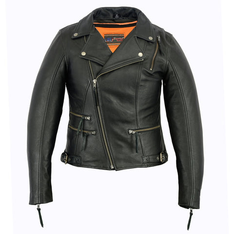 Ladie's Updated Stylish Motorcycle Jacket - DS804 Women's Jackets Virginia City Motorcycle Company Apparel
