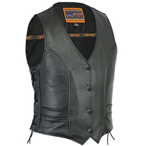 Daniel Smart - Women's Stylish Full Cut Leather Vest - DS271 Women's Leather Vests Virginia City Motorcycle Company Apparel